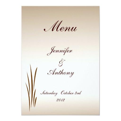 Menú del boda de la cosecha del otoño invitación 12,7 x 17,8 cm