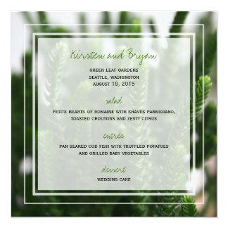Menú del boda de la foto de la naturaleza de la invitación 13,3 cm x 13,3cm