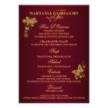 Menú del boda de la mariposa del oro de Borgoña Comunicado Personal