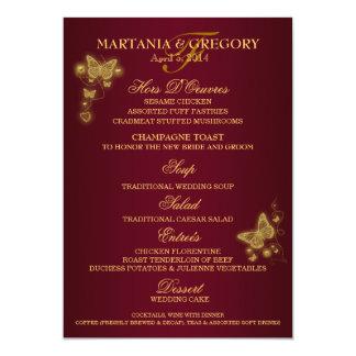 """Menú del boda de la mariposa del oro de Borgoña Invitación 5"""" X 7"""""""