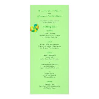 """Menú del boda de la menta de la primavera invitación 4"""" x 9.25"""""""