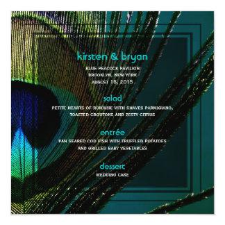 menú del boda de la pluma del pavo real del invitación 13,3 cm x 13,3cm