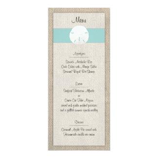 """Menú del boda de playa del dólar de arena invitación 4"""" x 9.25"""""""