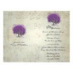Menú del boda del árbol de la hoja de Purple Heart Plantillas De Membrete