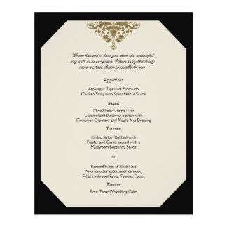 Menú del boda del damasco del negro de marfil y de tarjetones