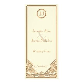 Menú del boda del estilo de Gatsby del art déco de Tarjeta Publicitaria Personalizada