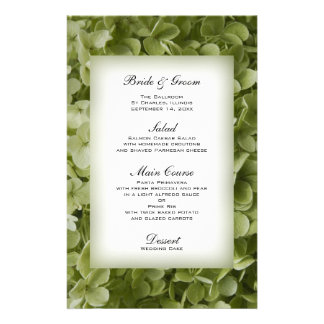 Menú del boda del Hydrangea de Annabelle Papeleria