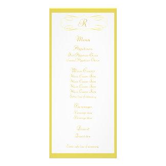 Menú del boda del monograma del oro diseño de tarjeta publicitaria
