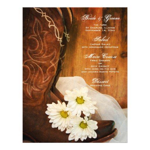 Menú del boda del país de las botas de vaquero de folleto 21,6 x 28 cm