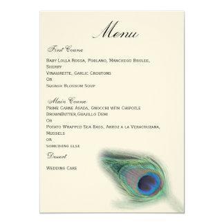 """menú del boda del pavo real invitación 5"""" x 7"""""""