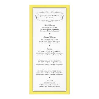 Menú del boda del smoking en amarillo y gris lonas personalizadas