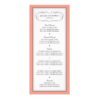 Menú del boda del smoking en coral y gris lona publicitaria