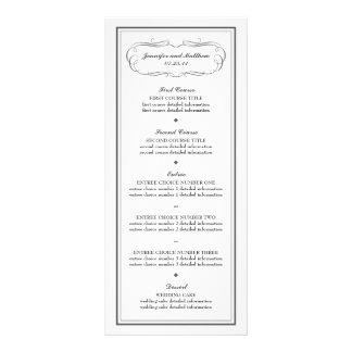 Menú del boda del smoking en gris de carbón de leñ tarjetas publicitarias a todo color