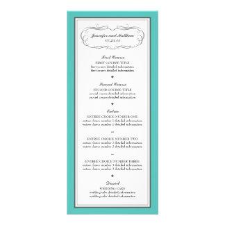 Menú del boda del smoking en turquesa y gris tarjeta publicitaria a todo color