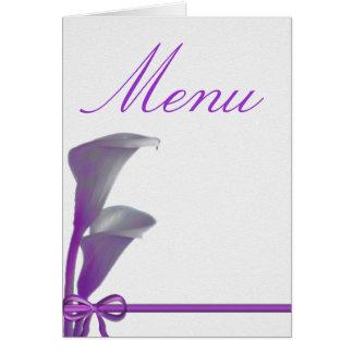 Menú del boda tarjeta de felicitación