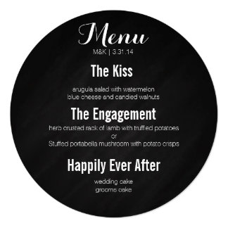 """Menú del círculo - historia de nuestro amor invitación 5.25"""" x 5.25"""""""