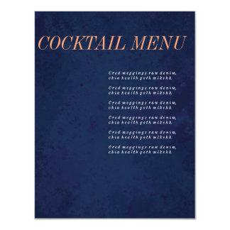 """Menú del cóctel, menú de la bebida, sistema del invitación 4.25"""" x 5.5"""""""