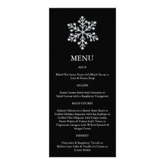 Menú del copo de nieve del invierno (negro) lona personalizada