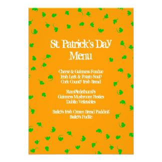 Menú del día de St Patrick anaranjado de la ducha  Comunicado Personal