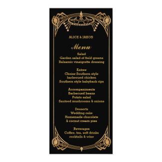 """Menú del estilo de Gatsby del art déco, tema del Invitación 4"""" X 9.25"""""""