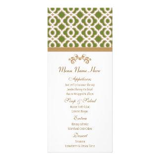 Menú del marroquí del verde verde oliva y del oro tarjetas publicitarias personalizadas