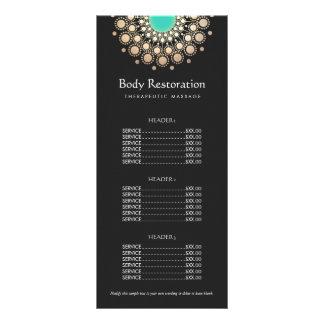 Menú del negro y de la lista de precios del adorno tarjeta publicitaria