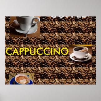 MENÚ DEL POSTER DEL CAPPUCCINO LATTE DEL CAFÉ
