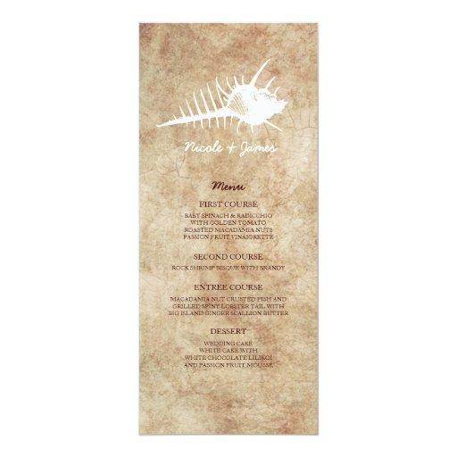 Menú del Seashell del vintage del boda de playa Invitación 10,1 X 23,5 Cm