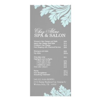 Menú del servicio del salón y del balneario tarjeta publicitaria personalizada