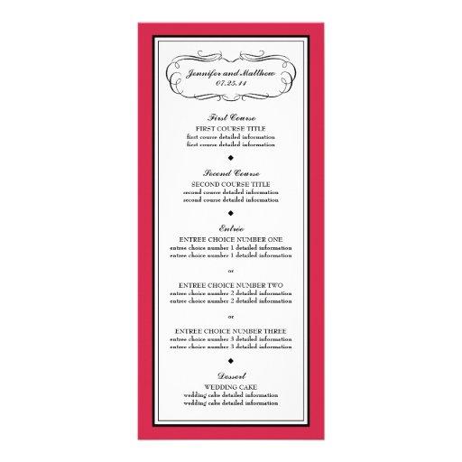 Menú del smoking en rojo clásico tarjeta publicitaria personalizada