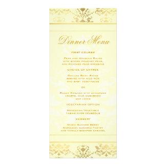 Menú delgado de la cena del damasco de la marfil y tarjeta publicitaria