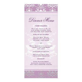 Menú delgado de la cena del damasco de la violeta  plantilla de lona