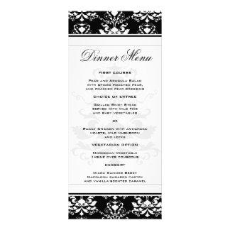 Menú delgado de la cena del damasco negro y blanco tarjetas publicitarias