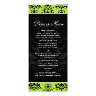 Menú delgado de la cena del damasco verde y negro tarjetas publicitarias a todo color