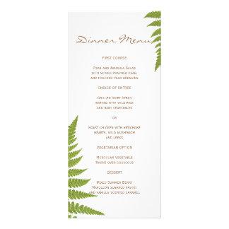 Menú delgado de la cena del helecho del boda del tarjetas publicitarias a todo color