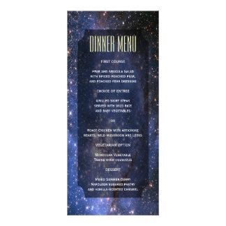 Menú delgado elegante del cielo nocturno/de la tarjeta publicitaria a todo color