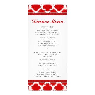 Menú delgado rojo y blanco de la cena de diseños de tarjetas publicitarias