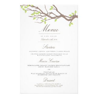 """Menú dichoso de la cena de boda de las ramas folleto 5.5"""" x 8.5"""""""