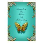 Menu Dinner Card Gold Teal Blue Butterfly