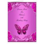 Menu Dinner Card Pink Butterfly Floral
