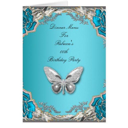 Menu Dinner Card Silver Blue Butterfly