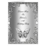 Menu Dinner Card Silver Gray Butterfly Floral