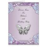 Menu Dinner Card Silver Lilac Mauve Butterfly