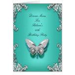 Menu Dinner Card Silver Teal Blue Butterfly