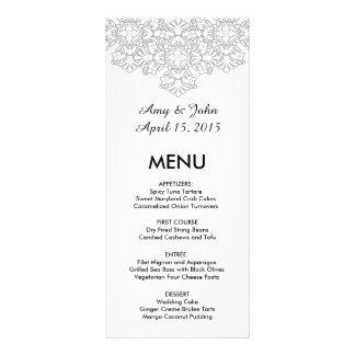 Menú dmask3 del boda del damasco del gris de plata tarjeta publicitaria a todo color