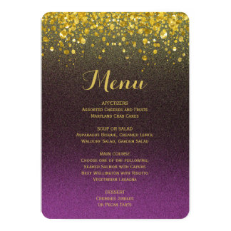 """Menú el   de la cena púrpura y oro invitación 5"""" x 7"""""""