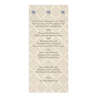 """Menú elegante acolchado marfil del boda de los folleto publicitario 4"""" x 9"""""""