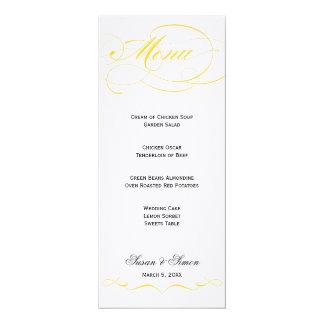 """Menú elegante del boda de la escritura - amarillo invitación 4"""" x 9.25"""""""