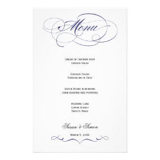 Menú elegante del boda de la escritura - azul mari papeleria de diseño