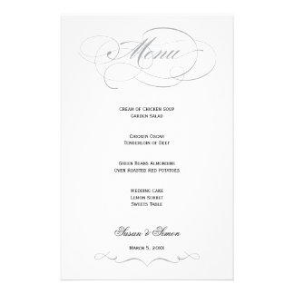 Menú elegante del boda de la escritura - gris papeleria de diseño